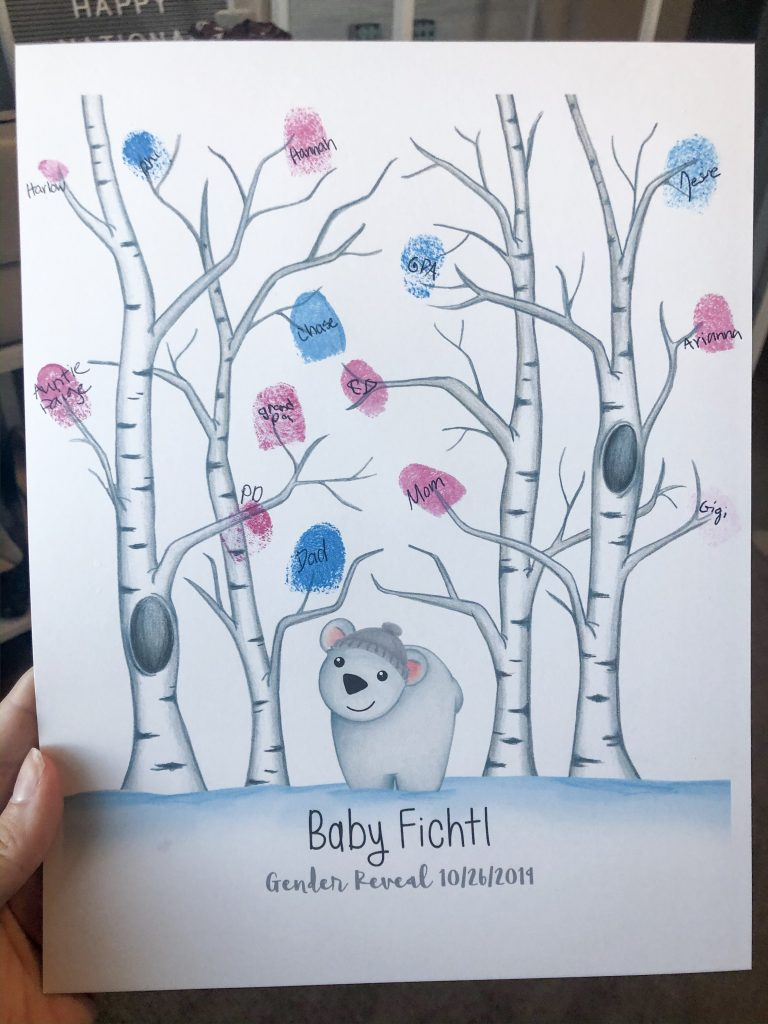 Fall Gender Reveal Fingerprint Tree