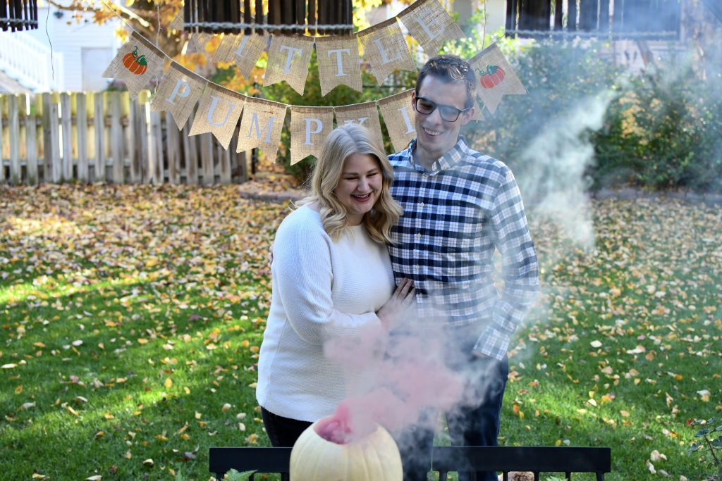 Fall Gender Reveal with Pumpkin