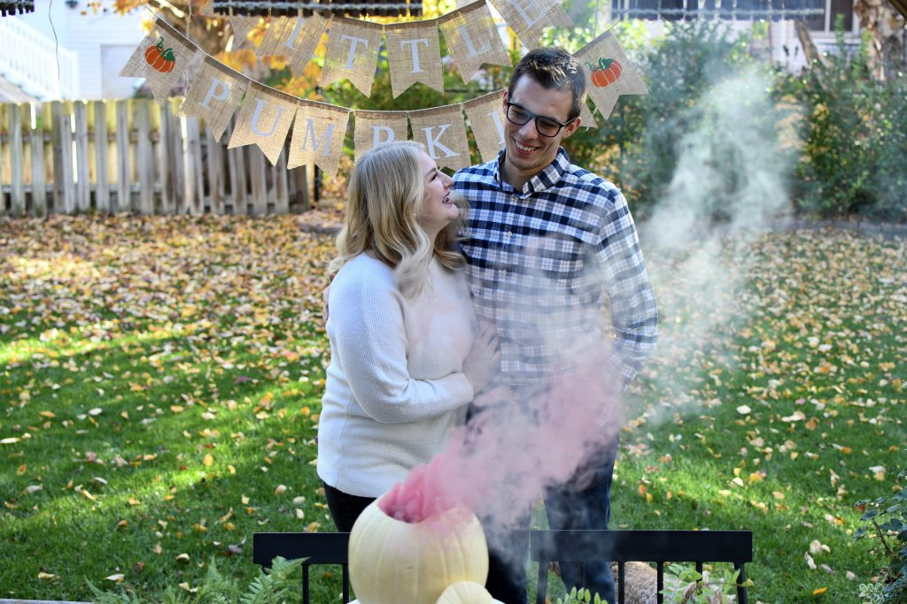 Fall Gender Reveal with Smoke and Pumpkin