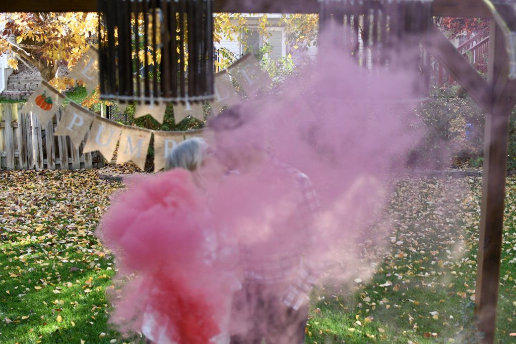 Fall Gender Reveal Pink Smoke