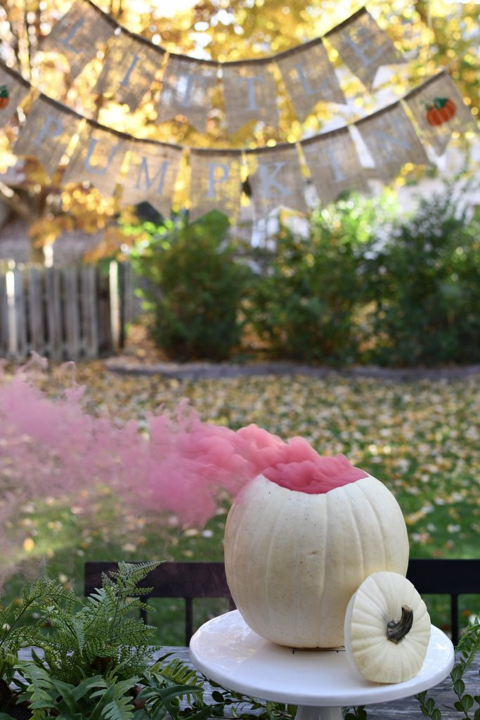 Fall Gender Reveal Pumpkin with Smoke Bomb